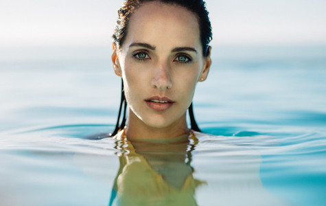 Beautiful woman in the water