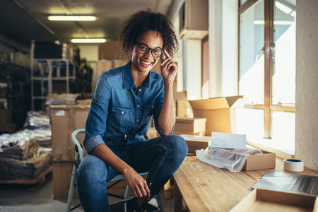 Confident businesswoman at online store