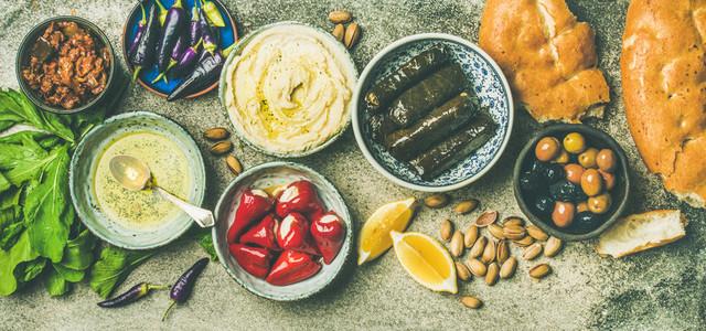 Mediterranean or Middle Eastern meze starter fingerfood platter