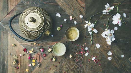 Flat lay of Traditional Asian tea ceremony arrangement top view