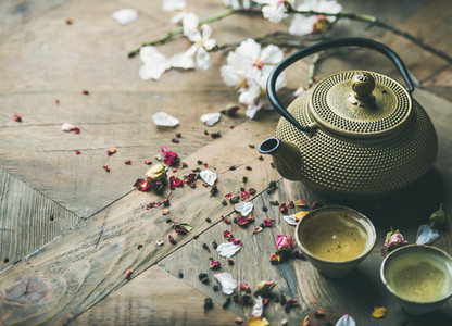 Traditional Asian tea ceremony arrangement over rustic background copy space