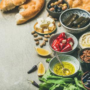 Mediterranean or Middle Eastern meze starter fingerfood assortment square crop
