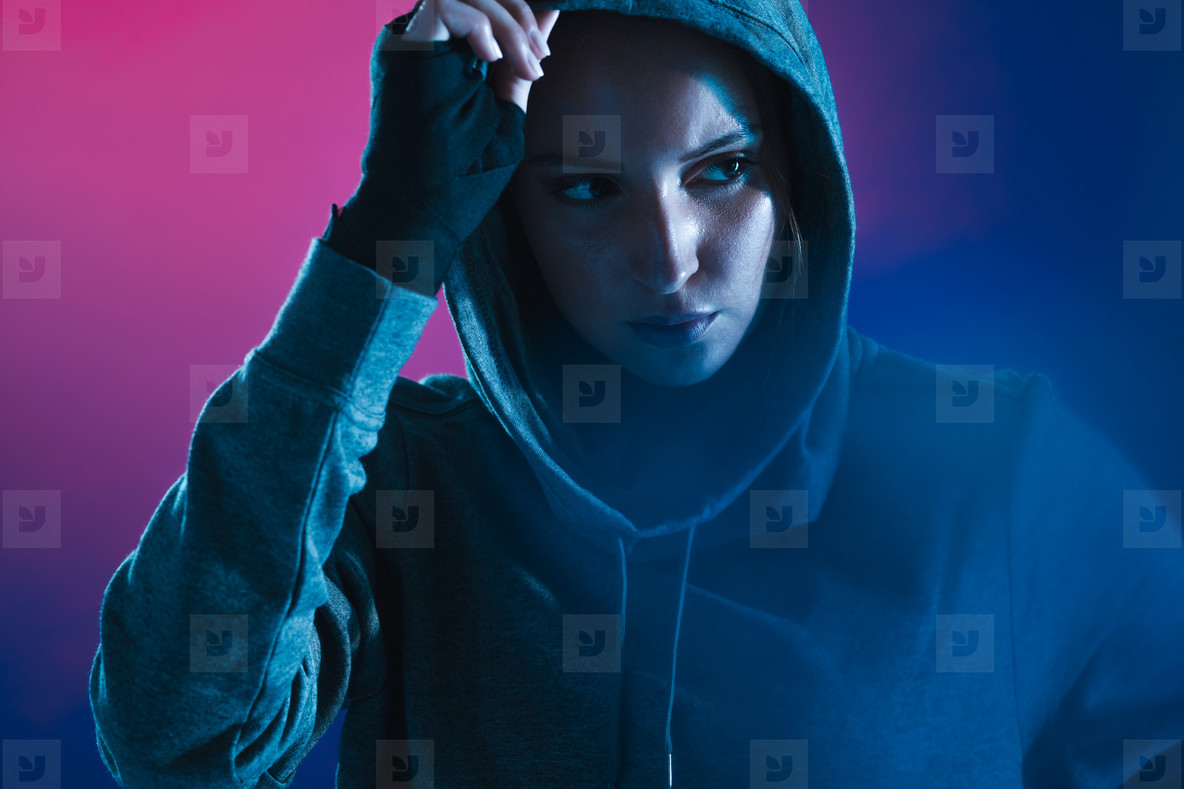 Woman in hoodie after training session