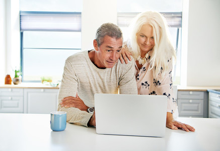Kitchen scene with calm couple looking at computer
