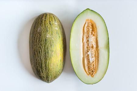 Freshly cut honeydaw melon