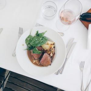 Medium done beef steak