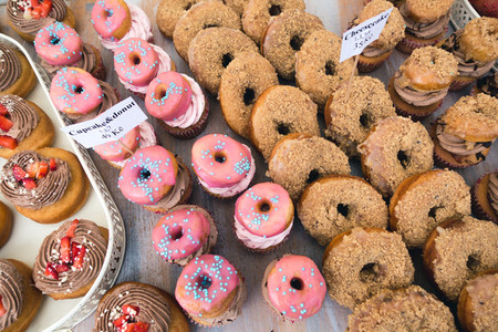 Pink and brown donuts