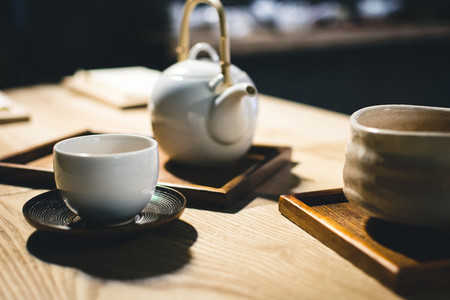 Tea cup with freshly green tea
