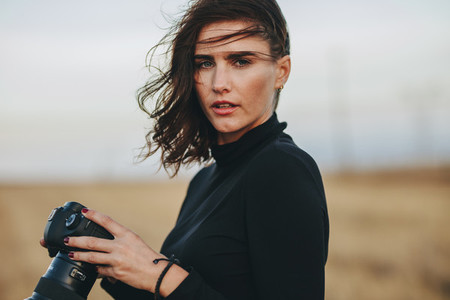 Professional photographer during a outdoors photoshoot