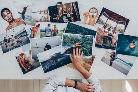 Photographer selecting best photos