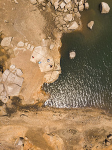 Aerial view of rocks on river
