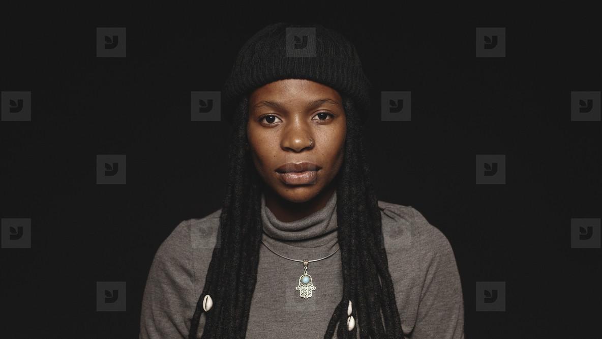 African woman with long dreadlocks