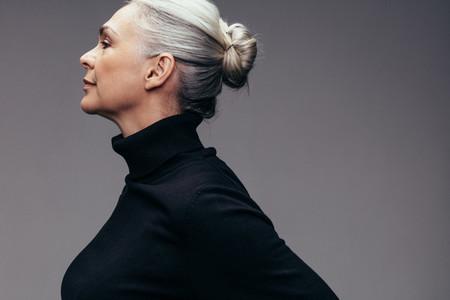 Senior woman with hair bun