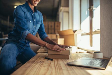 Entrepreneur working on online orders