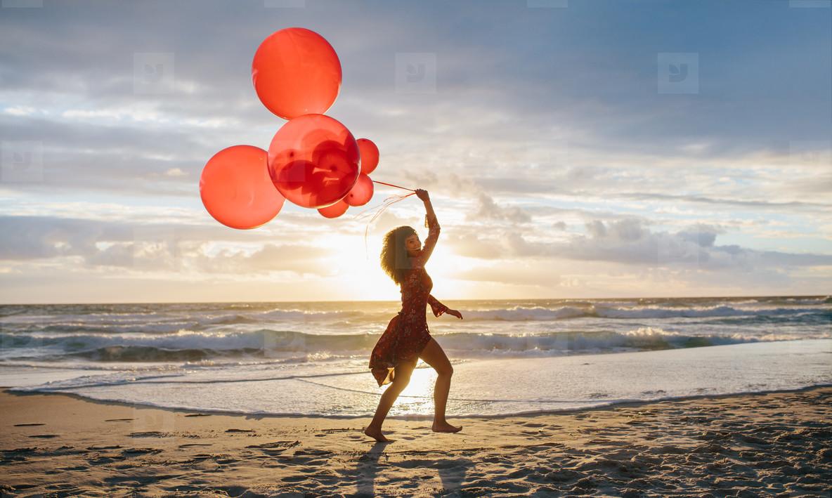 Woman having fun on the sea shore