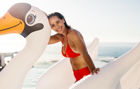 Woman having fun in swimming pool