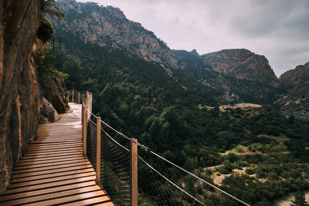 Wooden walkway among rock mountains in south of Spain