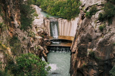 Dam among rock mountains in south of Spain