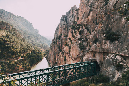 Bridge over de river among rock mountains in south of Spain