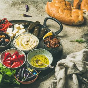 Mediterranean meze starter fingerfood platter  square crop