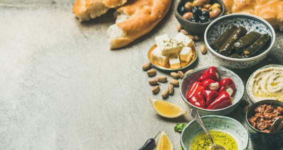 Mediterranean or Middle Eastern meze starter fingerfood assortment  wide composition