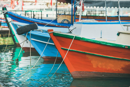 Colorful fishermens boats in small Mediterranean town