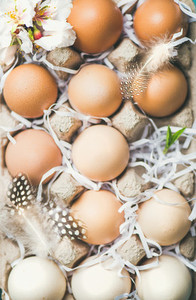 Natural colored eggs for Easter in box close up