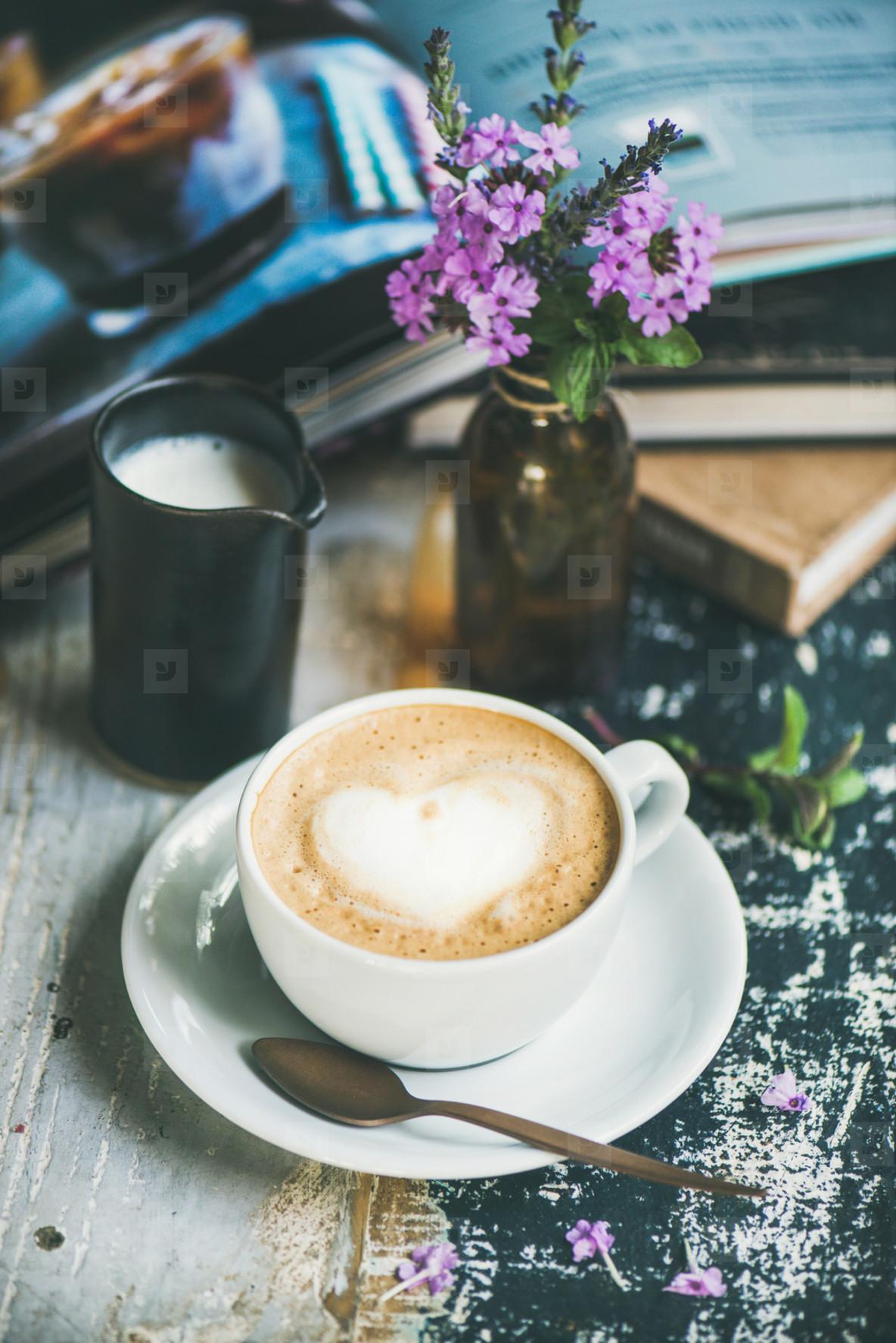 Classic foamy cappuccino coffee