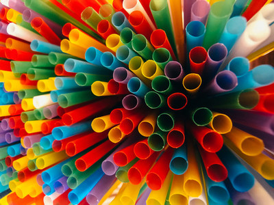 Abstract a colorful of plastic straws