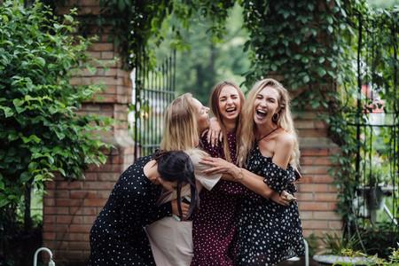 Four girls are having fun