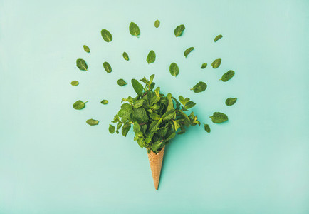 Waffle cone with fresh mint over blue background  top view