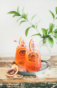 Aperol Spritz cocktail drink with orange and ice on table