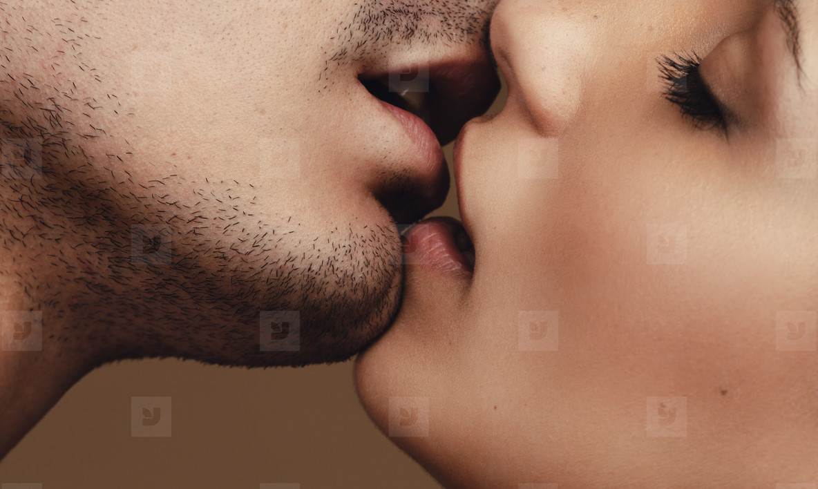 Romantic young couple kissing