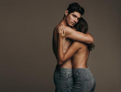 Sensual lovers embracing