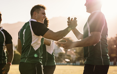 Rugby champions handshakes after game