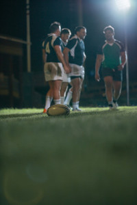 Ball on ground during rugby match