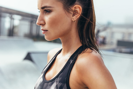 Determined fit young woman