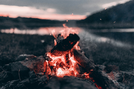 The fire is burning in nature