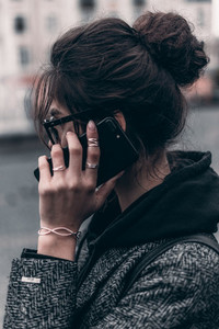 Young girl on smartphone call