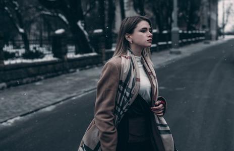 elegant girl crossing the road