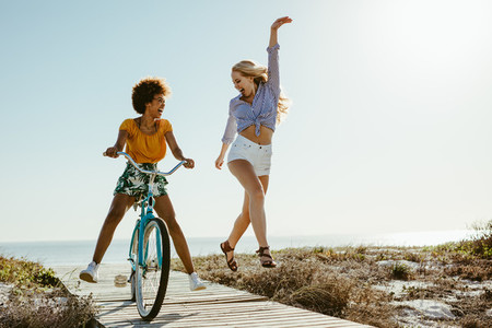Girls enjoying their vacation on beach