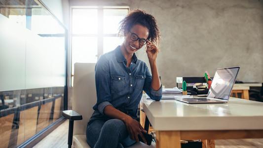 Smiling woman entrepreneur
