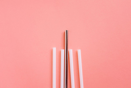 Flat lay of stainless straws
