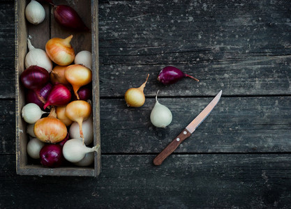 Colored onion in a box with knife on wood backgroundTop view