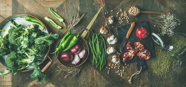 Winter vegetarian or vegan food cooking ingredients  wide composition