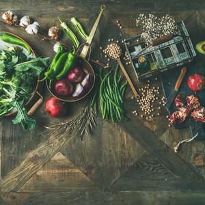 Winter vegetarian or vegan food cooking ingredients