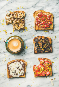 Healthy breakfast or snack with wholegrain toasts and coffee