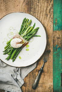 Green asparagus with soft boiled egg
