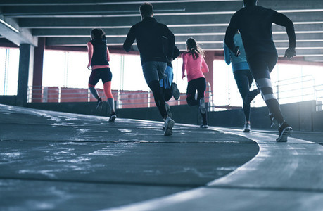 Sporty people running