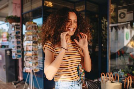 Cheerful curly hair girl
